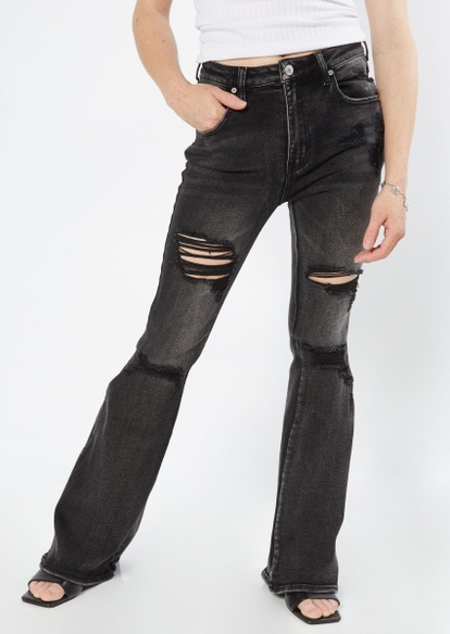 black high rise ripped flare jeans - Main Image