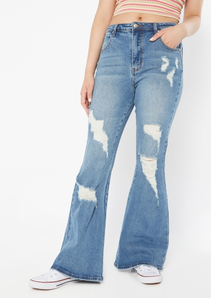 medium wash high rise ripped flare jeans - Main Image