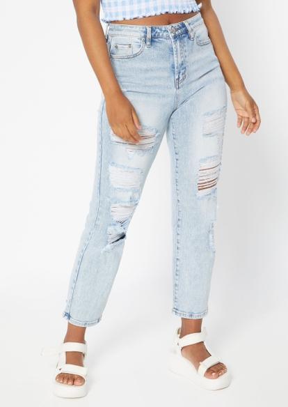 light wash super high rise shredded dad jeans - Main Image