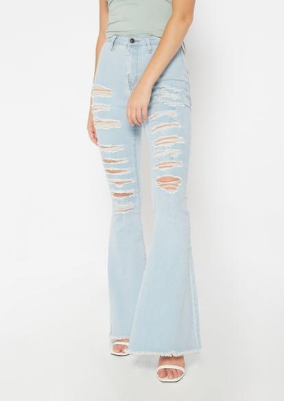 light wash high rise ripped fray hem flare jeans - Main Image