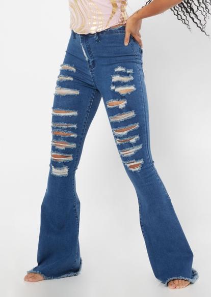 medium wash high rise ripped fray hem flare jeans - Main Image
