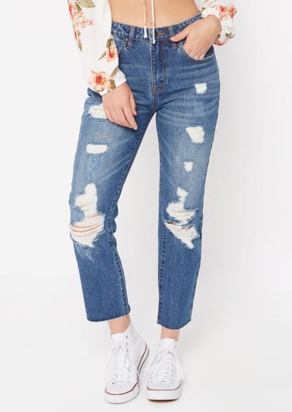 dark wash ripped boyfriend jeans - Main Image