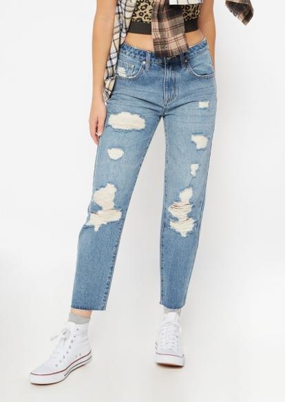 medium wash super high rise ripped boyfriend jeans - Main Image
