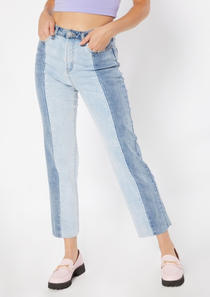 light wash colorblock high rise straight leg jeans - Main Image