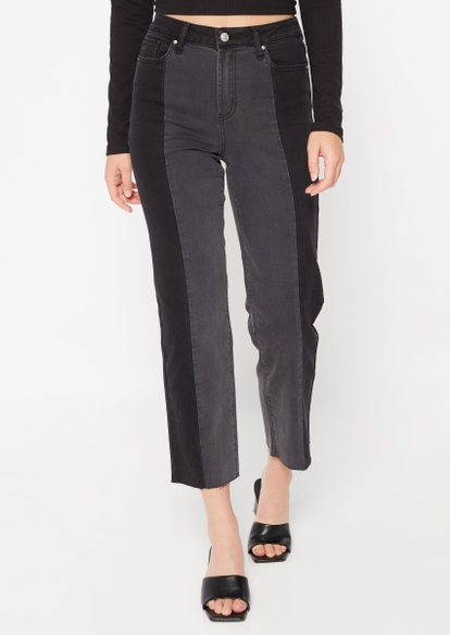 black high rise colorblock straight leg jeans - Main Image