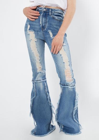 medium wash high rise seam knee ripped flare jeans - Main Image