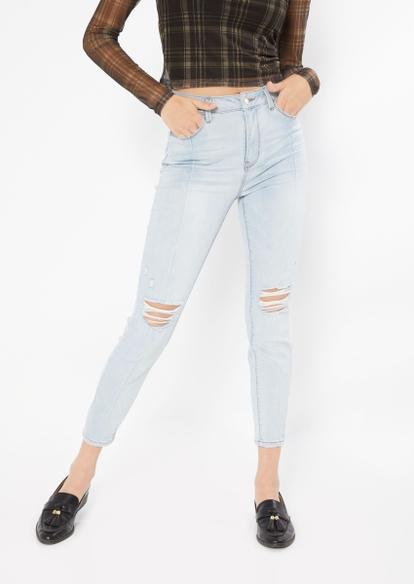 light wash high rise ripped seam leg skinny jeans - Main Image