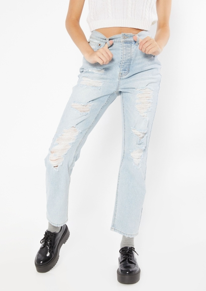light wash super high rise ripped dad jeans - Main Image