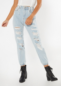 light wash high waisted shredded joggers - Main Image