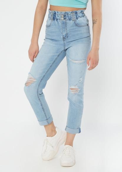 light wash ultra high paperbag waist jeans - Main Image