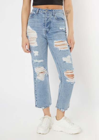 light wash ripped high waisted dad jeans - Main Image