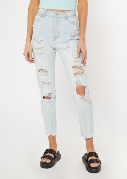 light wash frayed ankle mom jeans - Main Image