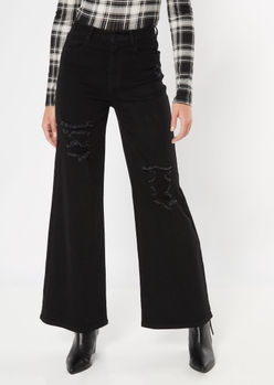 black ultra high waist distressed skater jeans - Main Image