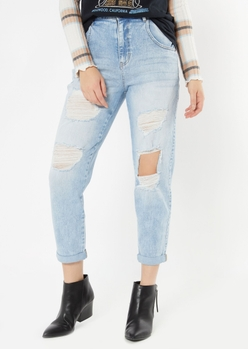 light wash rolled cuff ripped jeans - Main Image