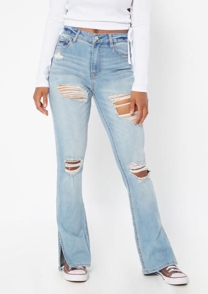 medium wash ripped slit hem flare jeans - Main Image