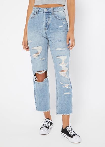 light wash high rise frayed hem ripped boyfriend ankle jeans - Main Image
