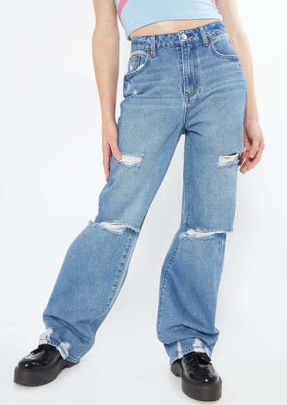 light wash high rise knee slit skate jeans - Main Image