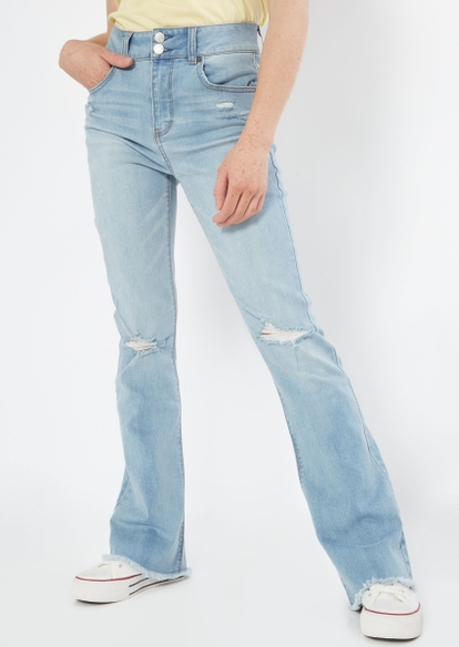 light wash high rise ripped knee frayed flare jeans - Main Image