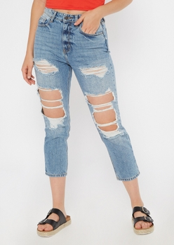 light wash high waisted ripped straight jeans - Main Image