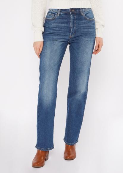 medium wash high waisted dad jeans - Main Image
