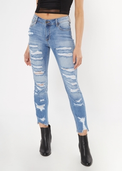 cello medium wash destroyed slit ripped jeans - Main Image