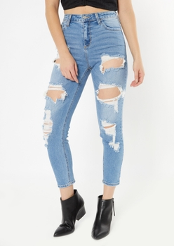 cello medium wash distressed straight leg jeans - Main Image