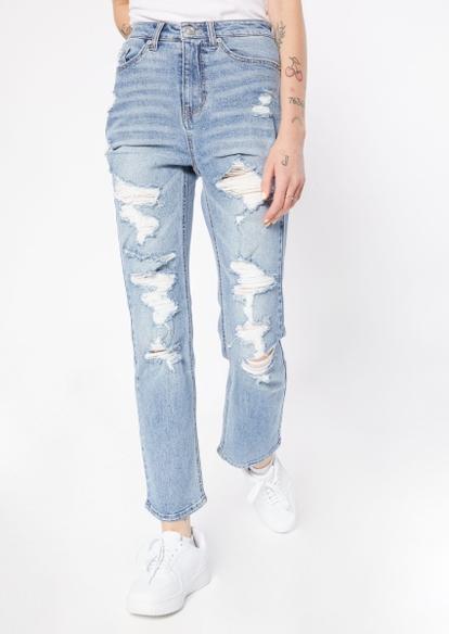 medium wash super high rise destructed dad jeans - Main Image