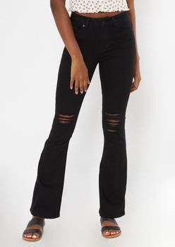 recycled black ripped knee flare jeans - Main Image