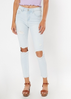 recycled light wash ripped knee jeggings - Main Image