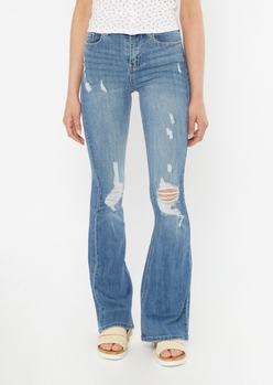medium wash recycled ripped flare jeans - Main Image