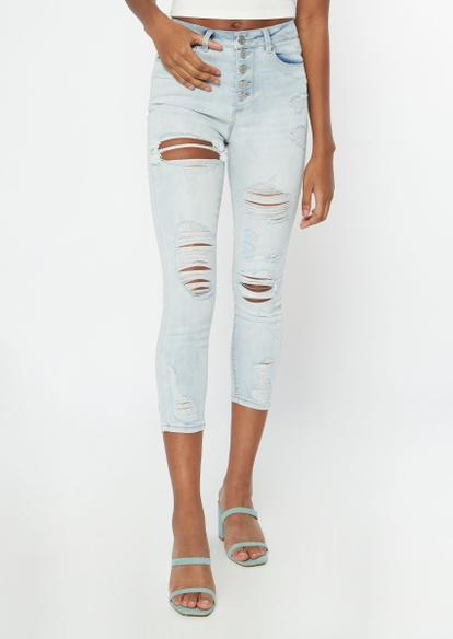 light wash recycled high waisted ankle jeggings - Main Image