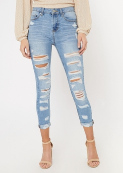 medium wash recycled double rolled cropped jeggings - Main Image