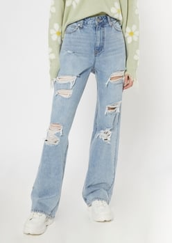 light wash ripped wide leg jeans - Main Image