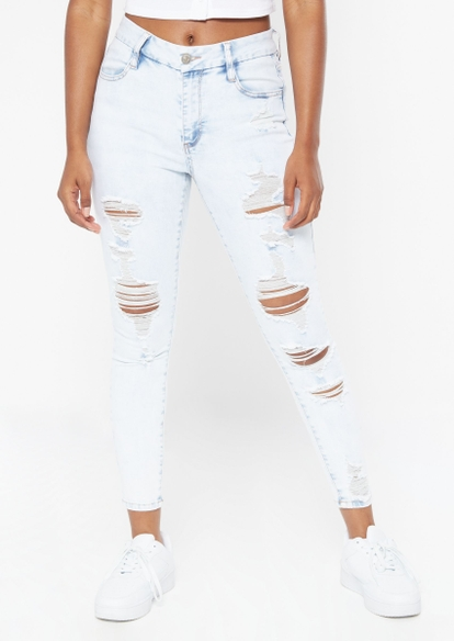 light wash high rise curvy ripped skinny jeans - Main Image
