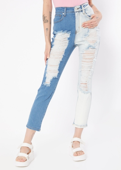 light blue super high rise two tone straight jeans - Main Image