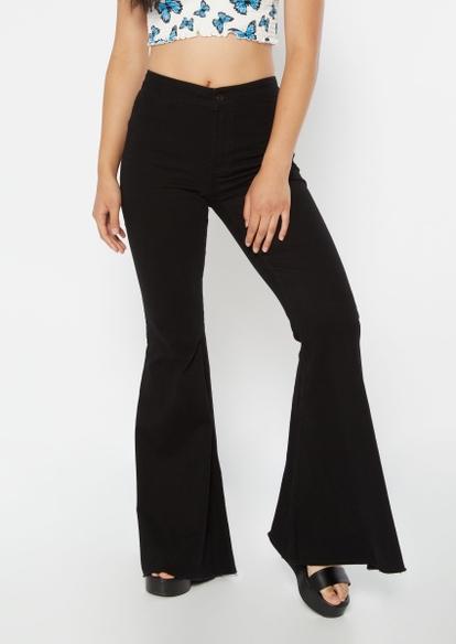 black super high rise mega flare jeans - Main Image