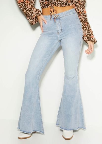 light wash super high rise frayed hem mega flare jeans - Main Image