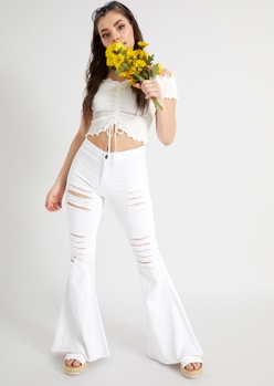 white ripped flare jeans - Main Image