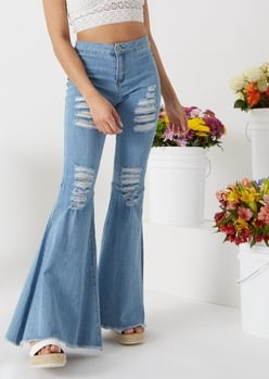 medium wash ripped flare jeans - Main Image