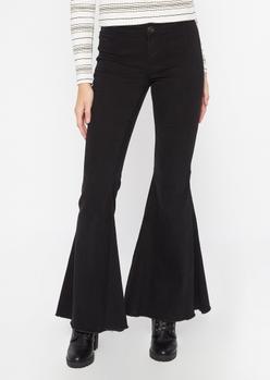 black raw cut flare jeans - Main Image