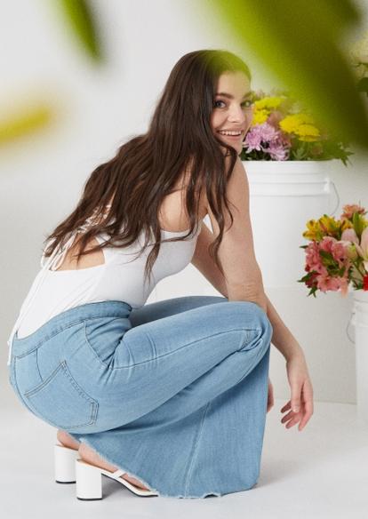 medium wash raw cut flare jeans - Main Image