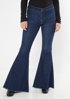 dark wash raw cut flare jeans - Main Image