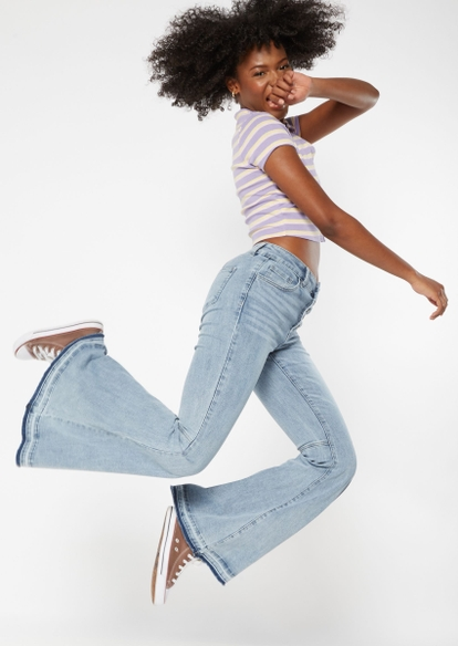 light wash high rise exposed button flare jeans - Main Image