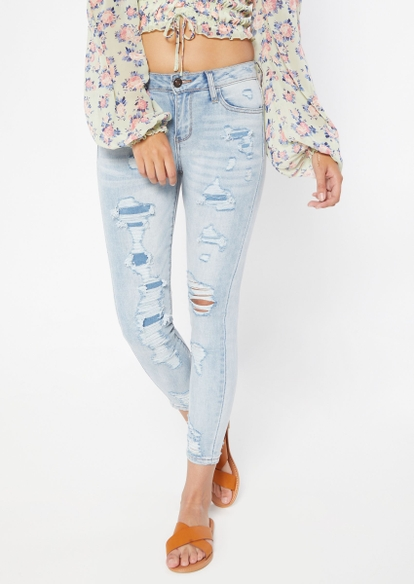 light wash mid rise rip repair skinny jeans - Main Image