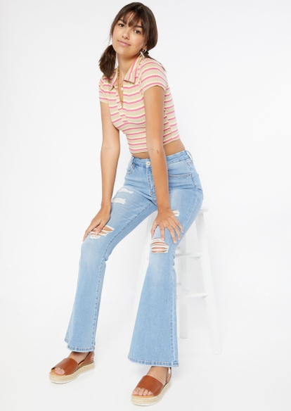 light wash high rise curvy ripped flare jeans - Main Image