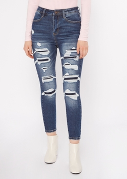 dark wash rip repair ankle jeans - Main Image
