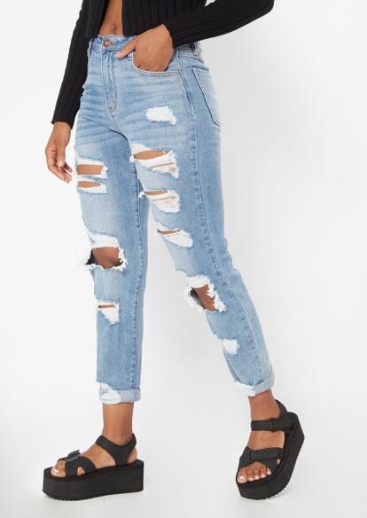 medium wash super high rise ripped mom jeans - Main Image