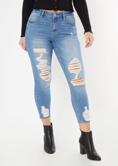 ultimate stretch medium wash ripped curvy ankle jeans - Main Image