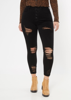 ultimate stretch black ripped curvy ankle jeggings - Main Image
