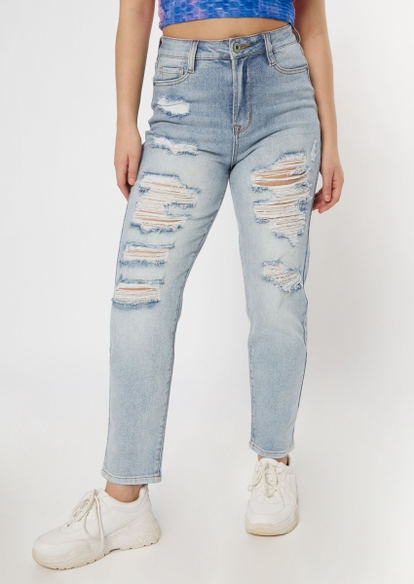 light wash high waisted ripped mom jeans - Main Image